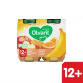 Olvarit Banana, apple and orange with biscuits 2-pack (from 12 months)