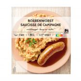 Delhaize Fried sausage with mashed carrots (at your own risk, no refunds applicable)