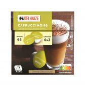 Delhaize Cappuccino coffee caps 6 coffee and 6 milk