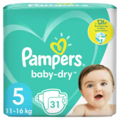Pampers Baby dry size 5 diapers to 12 hour protection (from 11 kg to 16 kg)