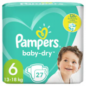 Pampers Baby dry size 6 diapers to 12 hour protection (from 13 kg to 18 kg)