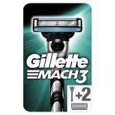 Gillette Mach 3 base scheerapparaat met 2 scheermesjes