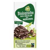 Albert Heijn Biologische pure chocolade reep met hazelnoot