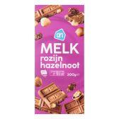 Albert Heijn Milk chocolate tablet with nuts and raisins